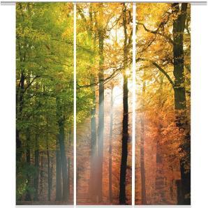 Schiebevorhang Wald (3er-Set) - Webstoff - Mehrfarbig, Ars Natura