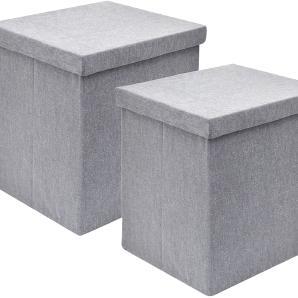 Storagebox Plain (2er-Set) - Groundwood - Grau, Flechtwaren Müller