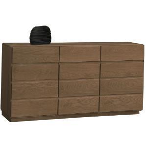 Kommode / Sideboard Fazenda 20, Farbe: Dunkelbraun, Eiche teilmassiv – 90 x 177 x 46 cm (H x B x T)