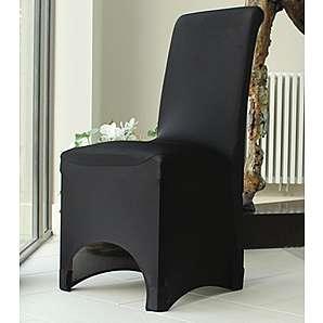 Stuhlhusse Stretch Fit für Esszimmer, Weiß/Schwarz/Elfenbein/Beige schwarz