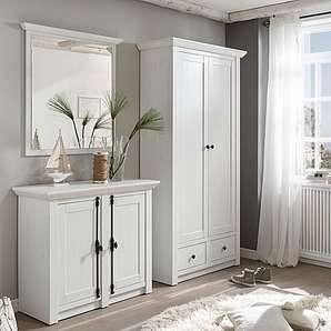 Home affaire 3-tlg. Garderoben-Set «California» », Set aus Garderobenschrank, Spiegel und Kommode«, weiß, Landhaus Stil, FSC®-zertifiziert