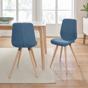 Massivholz andas Stühle, blau, Stoff CORSICA »stick cut«