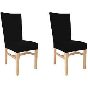 4er Auralum® 2 Jahre Garantie Elegant Samt Bi-Elastic Stretchhusse Stuhlhusse Stuhlüberzug (Schwarz)