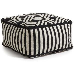 Sitzpouf in Schwarz Weiß gestreift 50 cm
