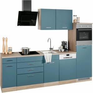 Küchenzeile »Wels« blau, mit Schubkästen, Held Möbel