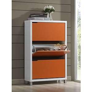 Schuhschrank Furna 05, Farbe: Orange / Weiß - Abmessungen: 119 x 79 x 23 cm (H x B x T)