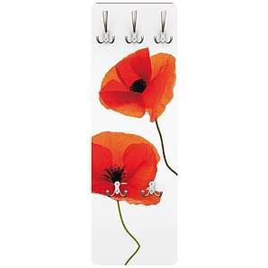 Bilderwelten Wandgarderobe Blumen - Charming Poppies - Garderobe Weiß Rot