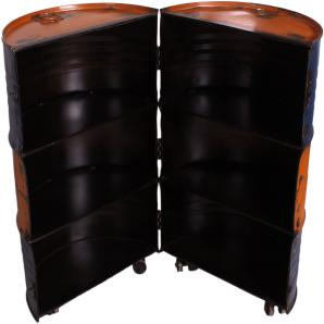 Barschrank Desgin Aus Recycelten Ölfässern Metall In Gelb / Blau Bemalt Sit-Möbel Drumline Mehrfarbig Stylisch