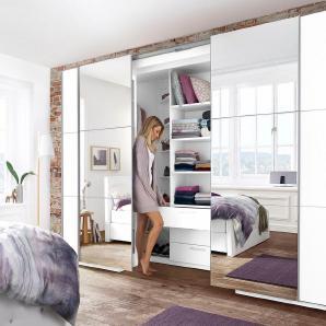 Schwebetürenschrank begehbar mit Spiegeltüren