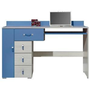 Kinderzimmer - Schreibtisch Felipe 13, Blau / Weiß - Abmessungen: 86 x 130 x 55 cm (H x B x T)