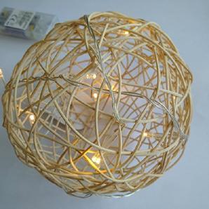 Dekokugel Lichterkette Deko Kugel Leuchte Rattan Weide Beleuchtung 11 cm 21.053