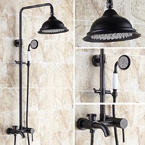 Caribou@Europäischen Stil Dusche Kit Messing schwarz Messing Dusche Kit mit Aufzug