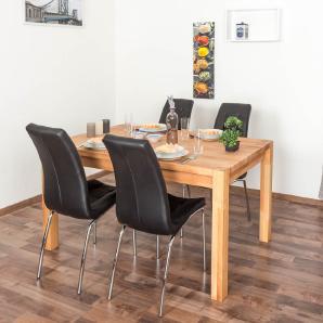 Wooden Nature Esstisch-Set 326 inkl. 4 Stühle (schwarz), Buche Massivholz - 160 x 90 (L x B)