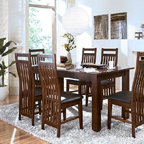 Massivum Suma Esstisch 150x90 mit Ansteckplatten + 4 Stühle, Holz, Kolonial, 90 x 150 x 75 cm