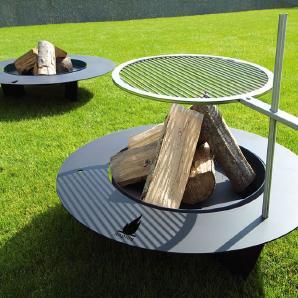 Feuerstelle Fireplate Radius silber, Designer Ralph Kraeuter, 20 cm
