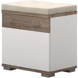 Sitzbank mit Stauraum Sagone 04, Farbe: Eiche Dunkelbraun / Weiß - Abmessungen: 47 x 50 x 35 cm (H x B x T)