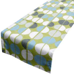 Schöner Leben Tischläufer Shoreditch Halbkreise hellgrün creme grau hellblau 40x160cm