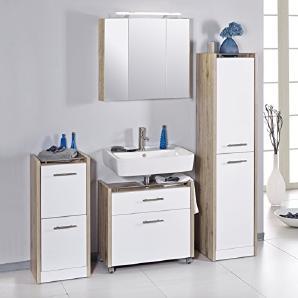 Schildmeyer 701026 Badmöbel, Holz, wildeiche weiß, 160 x 35 x 157.5 cm