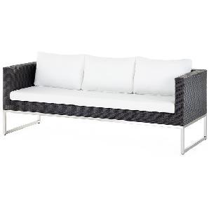 Gartensofa braun - 3er Sofa - Gartenmöbel - Rattanmöbel - Edelstahl und Rattan- CREMA