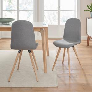 Massivholz andas Stühle in walnut oder white oak Massivholz, grau, Stoff CORSICA »stick classic«