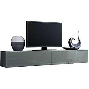 TV Schrank Vigo, Fernsehschrank, TV Lowboard mit Grifflose Öffnen, Hängeschrank Hochglanz Matt Wohnwand (Länge: 180 cm, Grau / Grau Hochglanz)