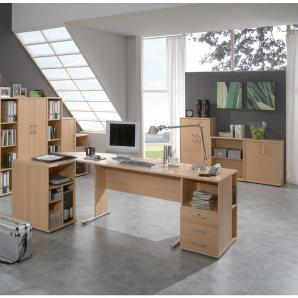 Büromöbel Set STETTIN-16 Buche, Schreibtisch mit 2 Standcontainern, 4 Aktenschränke, 5 Aktenregale
