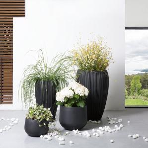 Blumenkübel schwarz rund 44 x 44 x 67 cm ARRESO
