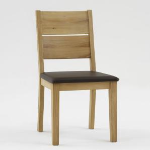 Stuhl in Kernbuche-massiv geölt, Sitzpolster braun im Lederlook, gerundete Rückenlehne, Maße: Höhe ca. 91 cm