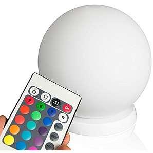 minify RGB LED Ball : 20cm Kugel mit Fernbedienung, Akku und Induktionsladestation für Haus, Terrasse, Garten und Gastronomie (20cm)