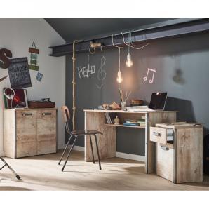 Schreibtisch Set mit Rollcontainer und Kommode im Vintage-Look DERRY-04