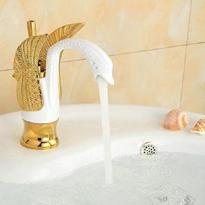 Neue TougMoo Luxus Mode aus massivem Messing mit gegrillten weißen Körper Standmontage Bad Armatur einzigen Griff 9000, Messing, Golden Weiß