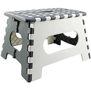 COM-FOUR® Klapptritt, mit Gumminoppen in weiß/grau, 34,5 x 27 x 22 cm (01 Stück Klein - weiß/grau)