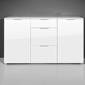 Kommode in weiß mit Hochglanz-Fronten, 2 Türen, 3 Schubkästen, Maße: B/H/T ca. 144/84/40 cm