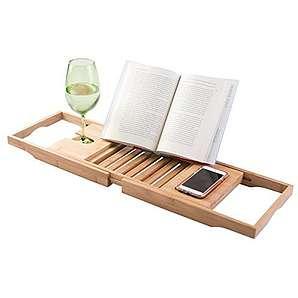 mDesign Badewannenaufsatz aus Holz – ausziehbare Badewannenablage mit Buchstütze und Tablett für Wein – mit Handyhalterung – natur
