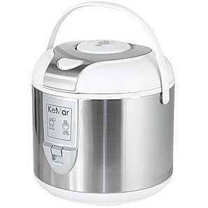 KeMar KRC-120 Reiskocher, BPA-frei, Dampfgarer mit Warmhaltefunktion, Edelstahl Dämpfeinsatz, Titan-Keramik antihaftbeschichteter Innentopf