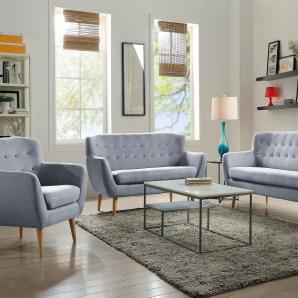 Home affaire 3-Sitzer mit Zierknopfheftung im Rücken, grau, B/H/T: 183x47x5cm »Noris«, FSC®-zertifiziert