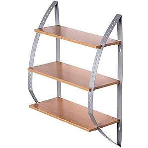 FineBuy KITY Wandregal mit 3 Böden Hängeregal aus Holz Küchenregal 40cm breit 15cm tief 50cm hoch Alu-minium Rahmen zur Wandmontage Küche oder Bad Regal Modern Buche