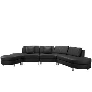 Big Sofa Schwarz - Ledersofa / Ledercouch Rindsleder Copenhagen