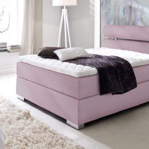 Boxspringbett mit Baumwollbezug in violett in 120x200 cm Größe - Tunero