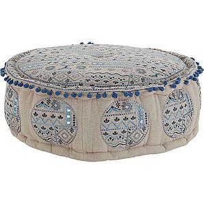 HOME AFFAIRE Sitz-Pouf mit aufwändigen kontrastfarbigen Details blau
