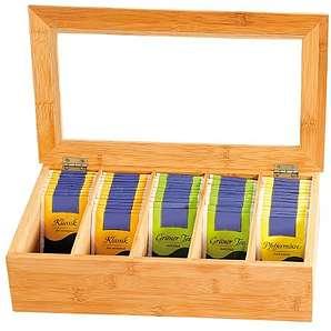 Kesper 50900 Tee-Box aus Bambus, mit 5 Fächern, 36 x 20 x 9 cm