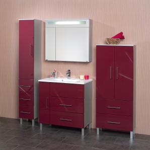 Badezimmer Rubinrot Hochglanz/ Alufarben Mit Beleuchtung Kesper Siena Mdf Modern