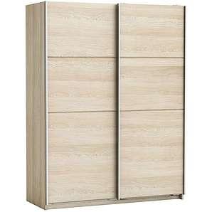 Schlafzimmer - Schiebetürenschrank / Kleiderschrank Pibor 07, Farbe: Sonoma Eiche - Abmessungen: 203 x 154 x 60 cm (H x B x T)
