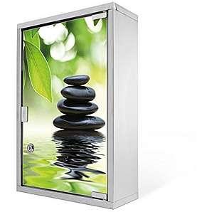 Medizinschrank groß Edelstahl abschließbar 30x45x12cm Arzneischrank Medikamentenschrank Hausapotheke Erste Hilfe Schrank Motiv Steine&Relax