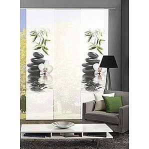 HOME Wohnideen Komplett Fenster Schiebevorhang Ruskin, 3 Er Set, 245x60 Cm,  Grün