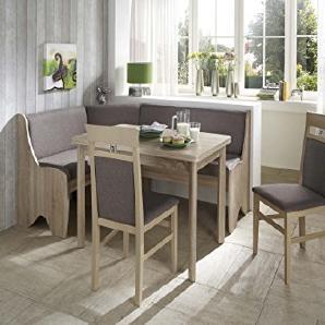 Dreams4Home Eckbankgruppe Coro Essgruppe 166 x 126 x 87 cm Tisch 2 Stühle modern Sonoma Eiche Dekor grau braun Eckbank Küchentisch 4-teilig Landhaus Küche