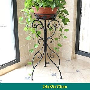 AMOS Eisen Blumen Regal Wohnzimmer Einzigen Stock Boden Boden Balkon  Innen Und Außenpflanze Blumentopf Rack ( Farbe : Schwarz , Größe : 24*35*70  Cm )
