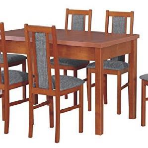 Essgruppe mit 6 Stühlen DM-31, Esstisch + Stuhlset, Tischgruppe, Esstischgruppe, Sitzgruppe, Esszimmergarnitur, Esszimmer Set (Kirsche + Inari 91)