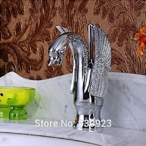 tougmoo NEU Chrome Finish aus massivem Messing Badezimmer Becken Wasserhahn Swan Form Dual Griffe Loch Einhebelmischer, Deck montiert, schwarz, Brass