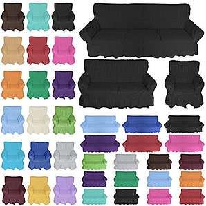 Nurtextil24 Sofahussen 100% Baumwolle in 20 Farben und 3 Größen Sofabezug 3er Schwarz